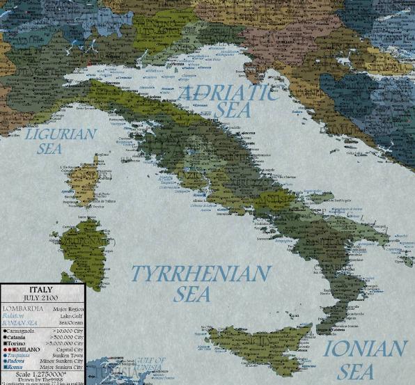 Cartina Italia Con Pianure.Positano Notizie Nel 2100 L Italia Perdera 5500 Chilometri Quadrati Di Pianure Costiere La Cartina